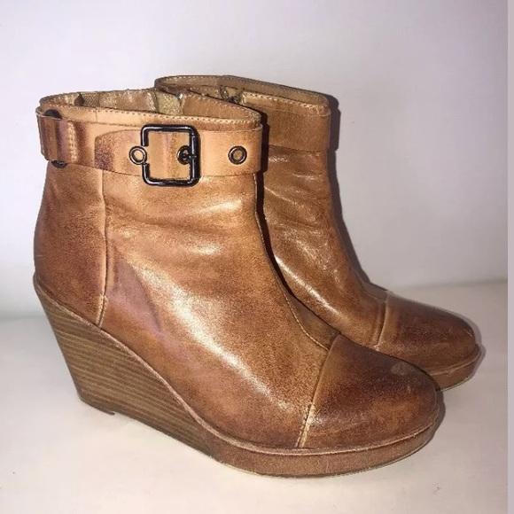 7c6abef92d55 Antelope Shoes - Antelope Tan Ankle Booties Wedge Heel